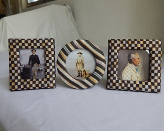 Set of 3 Mackenzie Childs Courtly Check Picture Frames 4 x 4