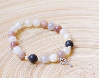 Moonstone / Lava Dissuser  Bracelet with key charm