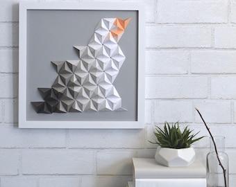 Coral, gray & white 12x12 origami wall art | modern wall art | ombre | 3D paper art | home decor | paper sculpture | ombre | minimalist
