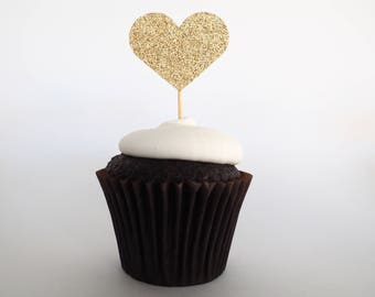 READY TO SHIP! Gold glitter heart cupcake toppers | 1st birthday toppers | Baby shower toppers | Love heart toppers | Wedding toppers