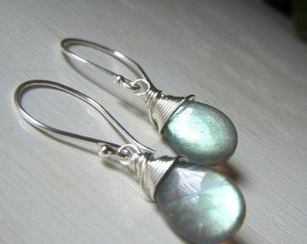 Labradorite Earrings Sterling Silver, Flashy Briolette, Wirewrapped Labradorite Earrings, Simple Gemstone Teardrop Dangle