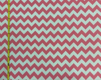 Riley Blake bubblegum pink and white chevron cotton lycra knit 1 yard