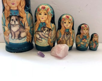 Nesting Fairy Goddess Doll with Dogs