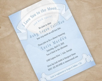 Print Your Own Love You to the Moon Baby Shower Invitation