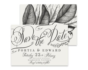 White Save the Date Invitation | Avery White | Printable DIY Wedding Invite | Classic white invitation with vintage leaves