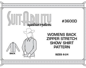 PDF Women's Western Back Zipper Stretch Show Shirt Pattern