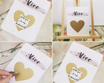 Scratch Of Gold Heart Will You Be My Bridesmaid Card ** RESTOCKING