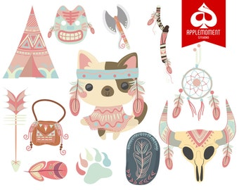 Cat Indian or Native American Version Two Digital Clipart for Personal and Commercial Use