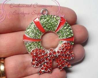 Rhinestone Wreath Green and Red, Winter Theme Rhinestone Chunky Pendant, Keychain, Bookmark, Zipper Pull, Chunky Jewelry, Purse Charm
