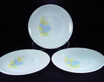 """Three Fire King """"Forget-Me-Not"""" Dinner Plates"""