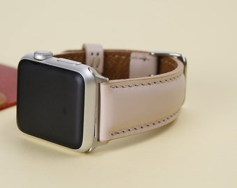 Nude, Apple Watch Band, 38mm, 42mm, iwatch band,  Feminine Apple Watch Band, Leather Band Pink, Lazer, Initials, Gift Wrapping Avaliable