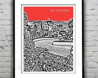 San Francisco Poster Print Skyline Lombard Street California Art CA Item T1191