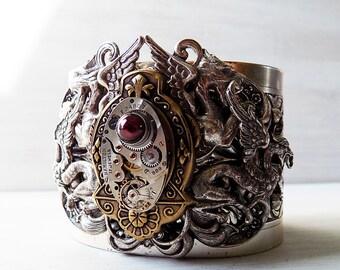 Dragon cuff, steampunk cuff, steampunk bracelet, ornate bracelet, jeweled steampunk, unique steampunk, steampunk jewelry, large cuff steam