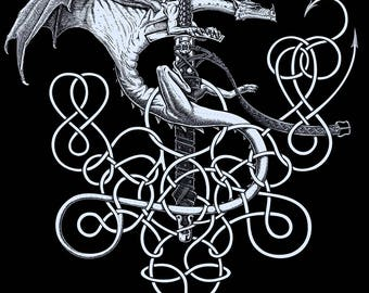 Guardian - silver dragon on sword with scabbard - Celtic / Nordic knots - epic medieval fantasy - Letterpress print