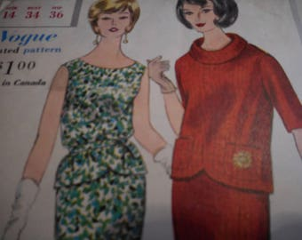 Vintage 1960's Vogue 5312 Two Piece Dress Sewing Pattern Size 14 Bust 34