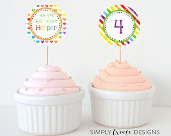 Rainbow Cupcake Toppers DIGITAL File 8.5  x 11 JPEG File Personalized