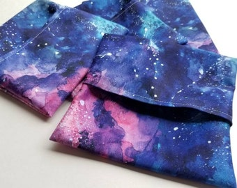 Watercolor space, universe, wetbag for cloth pads, incontinence pads, pad wrap, reusable pads, cloth pad wet bag, pad wrapper, mini wet bag