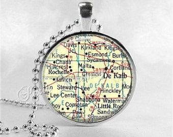 ILLINOIS MAP Pendant, DeKalb, Rochelle, Sycamore,  Illinois Map Necklace, Illinois Pendant, Vintage Illinois Map, Glass Photo Art Pendant