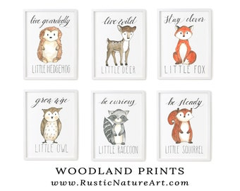 Woodland Nursery Prints | Woodland Nursery Wall Art Set of 6 | Woodland Animals | Woodland Creatures. Woodland Fox