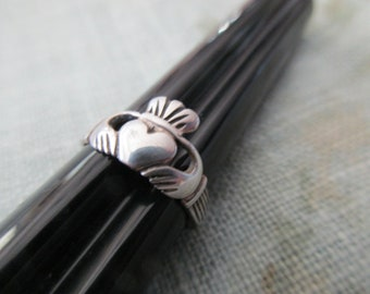 vintage sterling silver ring - Irish, band, claddagh, size 4, adjustable, toe ring