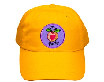 Cute Embroidered Peachy Hat, Its All Peachy! Embroidered Baseball Cap, Fruit Hat, Embroidered Peach, Mustard Color