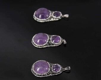 3pcs/lot Natural Amethyst druzy slab nugget Pendants,Plated Rhinestone Edge Pruple crystal Quartz Foiled Pendant Necklace Jewelry