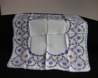 Vintage periwinkle and rose print flowered handkerchief