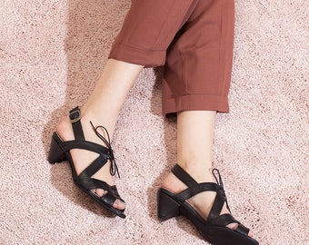 Black Heels, Black Shoes, Black Leather Sandals, Summer Heels, Sandal with Heels, Mid Heel, Elegant Sandals, Day Heels, Fay // Free Shipping