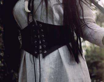 Genuine Leather Waist Cincher Belt Black Underbust Corset LARP, SCA, Medieval Renaissance Steampunk Costume Fantasy Historical Celtic, Witch