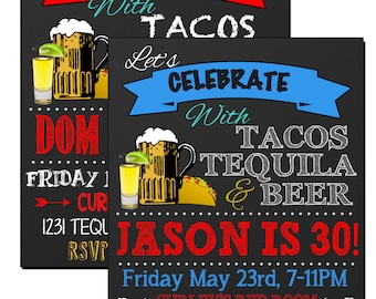 Tacos tequila beer birthday party invite, tequila party invitation, unique adult birthday party invite, cinco de mayo invite ID# INVADL01