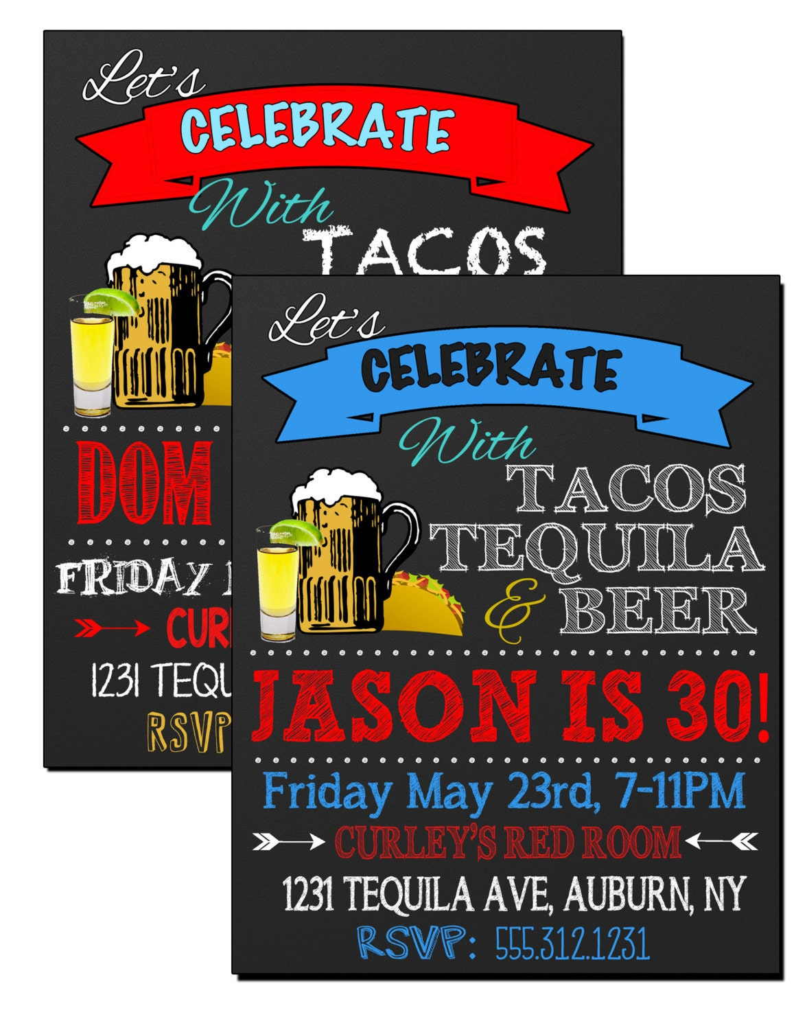 Tacos tequila beer birthday party invite tequila party