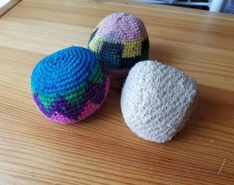 Vintage Lot of 3 Hackey Sack Balls 1990s Pink Blue Green Hemp