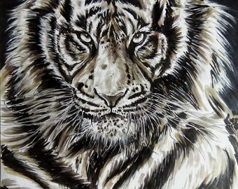 Tiger drawing format poster pens ink on a2 paper