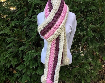 The LIZZY Blanket Scarf with Pompoms, Adult and child sizes available, pink and purple long cozy scarf Hygge Winter Blanket Scarf
