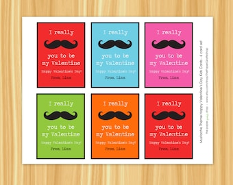 Mustache Valentine Day Card for Kids | Valentines Day Classroom Cards | Multi - Color Kids Classroom Cards | Rainbow | Personalized