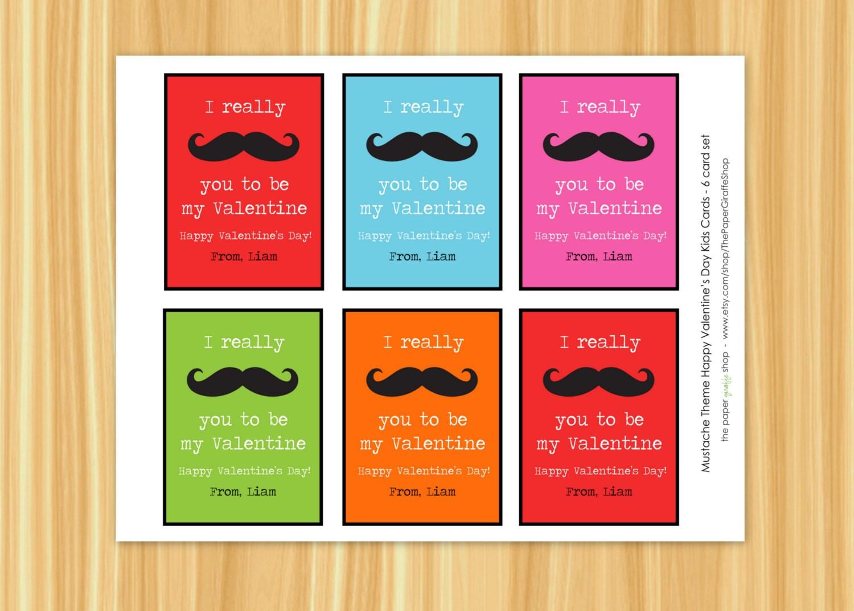 mustache valentine day card for kids valentines day, Ideas