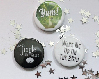 Christmas Pin Badge Button Pack - 3 Badges, stocking filler,
