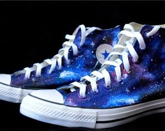 Custom handpainted galaxy shoes, galaxy Converse, galaxy Vans, personalized shoes, custom shoes, galaxy shoes, something blue shoes