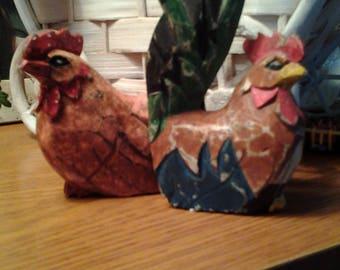 Primitive folk art Rooster & Hen set.