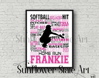 Personalized Softball Poster Typography, Softball Gift Ideas, Gift For Softball Players, Softball Wall Art, Softball Team Gift