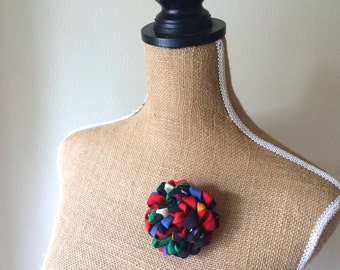 Upcycled Recycled Repurposed Necktie Flower Fluffy Mum Multicolor Brooch Corsage - OOAK reTIEd Fabric Flower Lapel Pin - Gift for Her