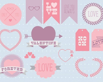 Vector clipart Hipster style Valentines Day pack