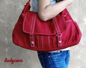 Mother s Day Big Sale ASTER // Red / Lined with Beige / 013 // Ship in 3 days // Messenger / Diaper bag / Shoulder bag / Tote / Canvas Bag