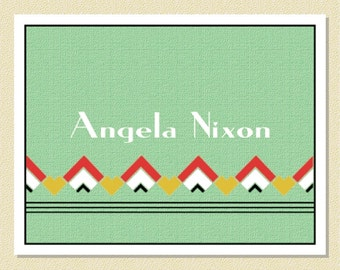 Art Deco Inspired Note Cards - Personalized (10 Folded)