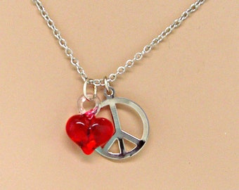 Peace and Love Silver Chain Necklace Minimal Jewelry Peace Sign Red Glass Heart