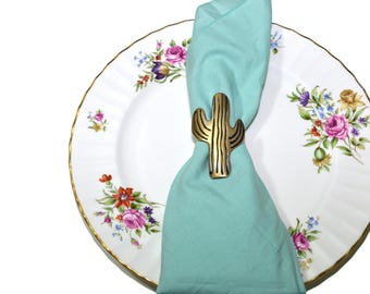 Vintage Brass Cactus Napkin Rings Saguaro Cactus Napkin Rings Gold Cactus Napkin Holder Cactus Decor Cactus Party Decor Set of 6