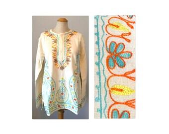 Vintage 60s Embroidered Boho Dashiki S M Unisex Top