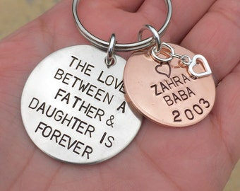 The Love Between A Father and Daughter is Forever, Father Daughter keychain, Personalized Keychain,Custom Father Daughter, from dad