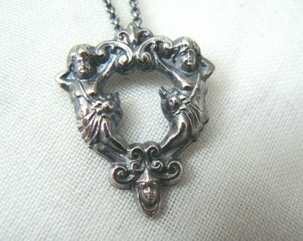 Guardian angels - Oxidized Sterling silver Pendant