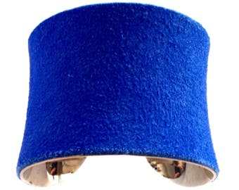 Gold Cuff Bracelet in Cobalt Blue Suede - by UNEARTHED